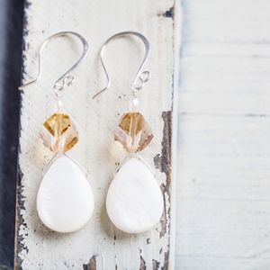 New Handmade White Shell Silver Earrings